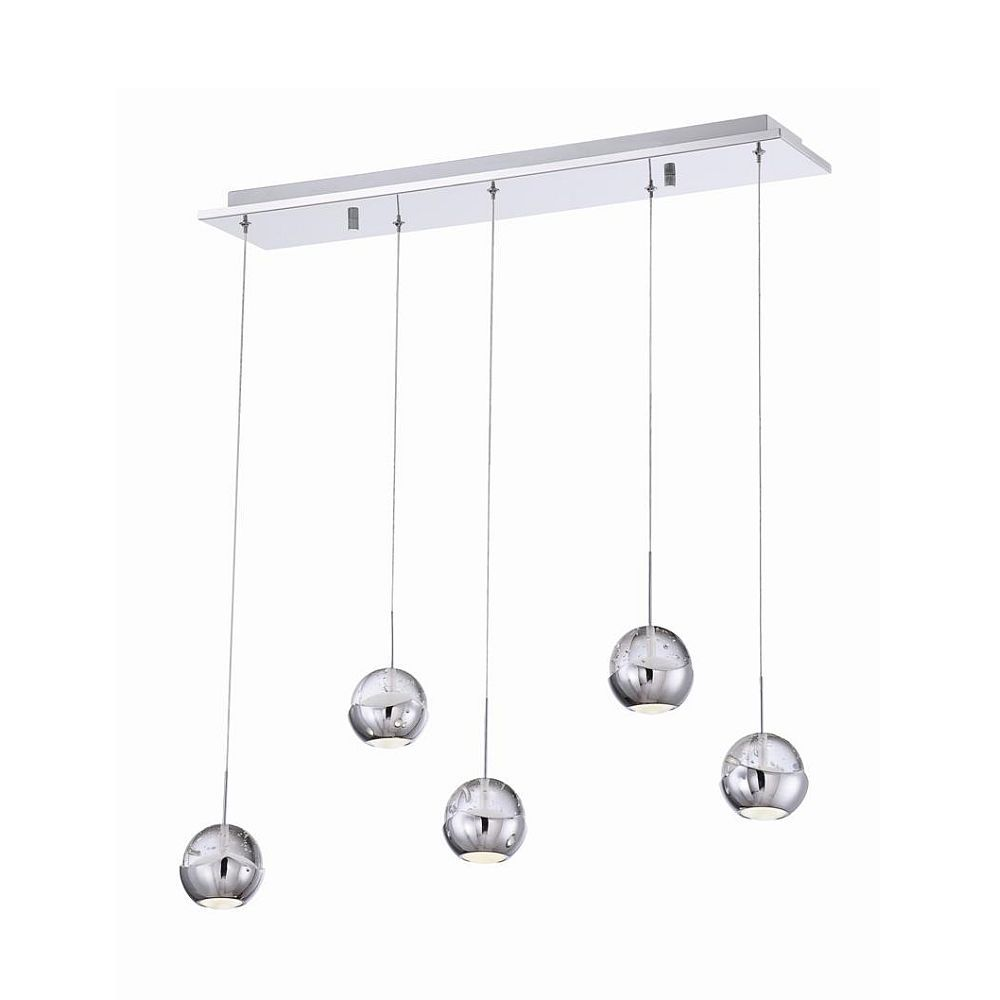 Ice Collection 5 Light Chrome & Clear LED Linear Pendant