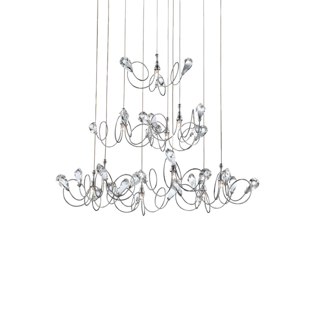 Volare Collection 10 Light Chrome & Clear Pendant