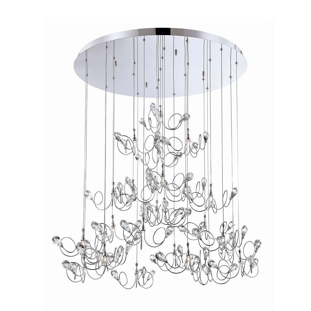 Volare Collection 25 Light Chrome & Clear Pendant
