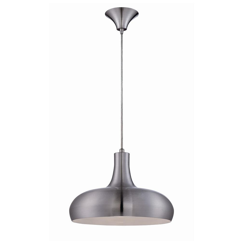 Una Collection 1 Light Aluminum & White Pendant