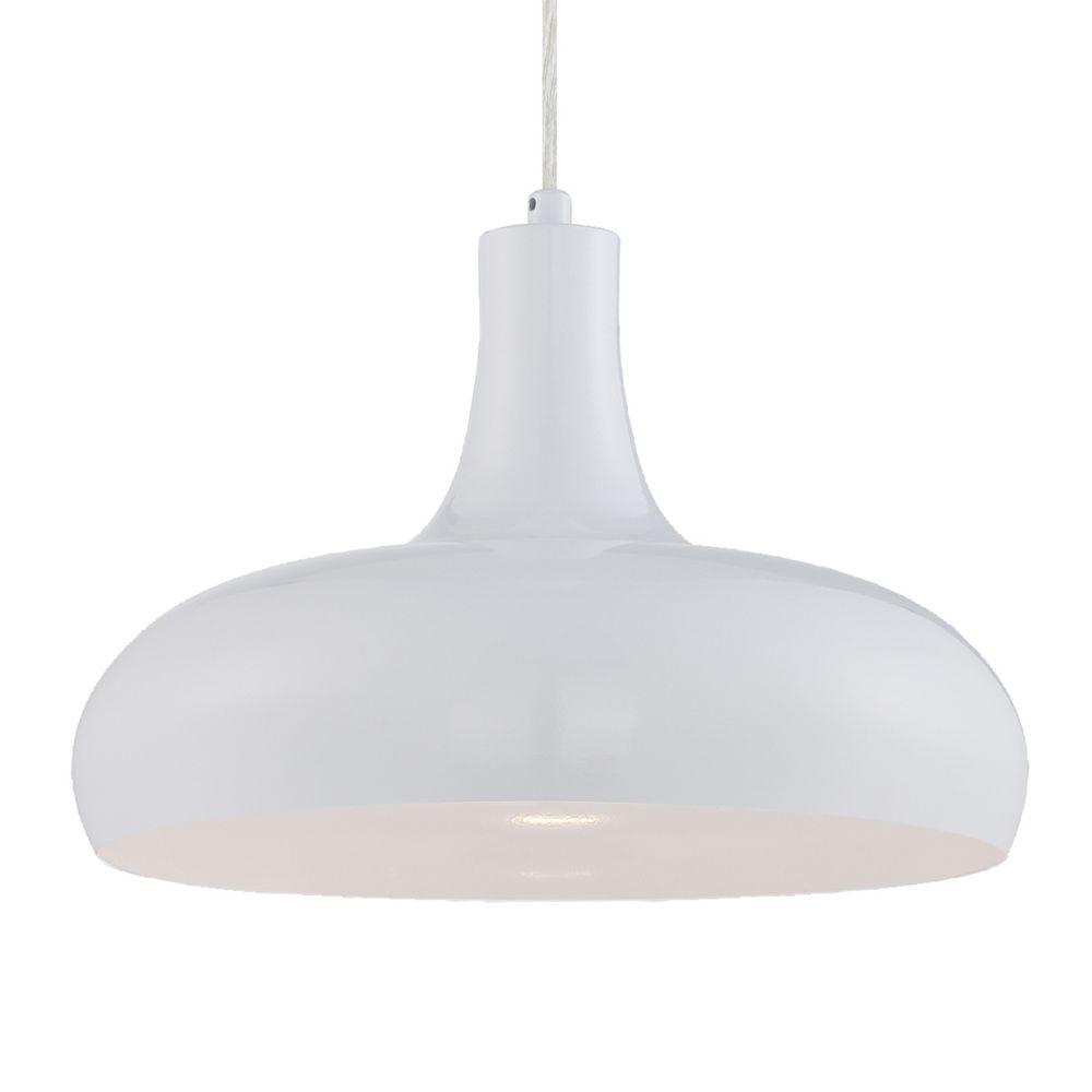 Una Collection 1 Light White Pendant
