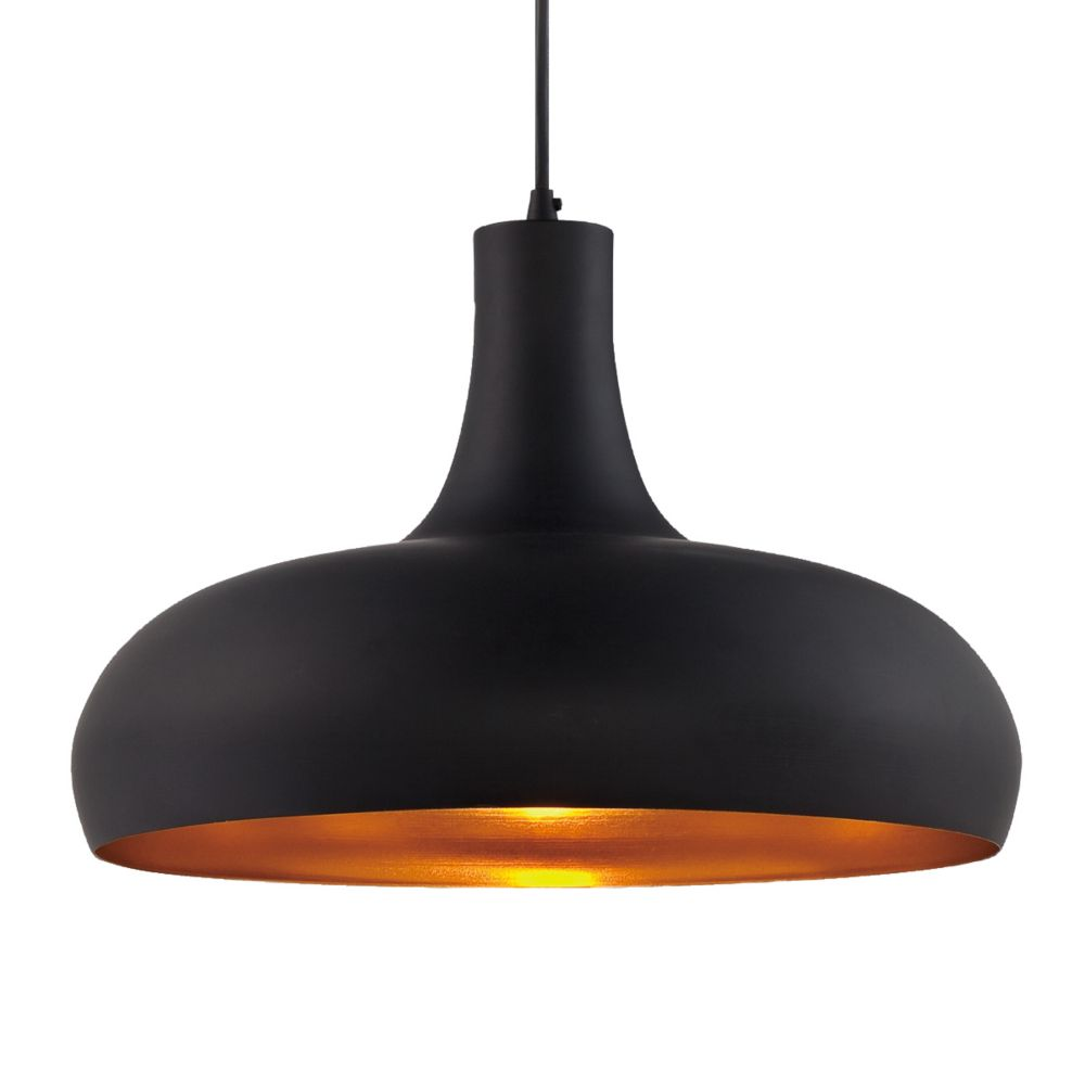Una Collection 1 Light Black & Brass Pendant