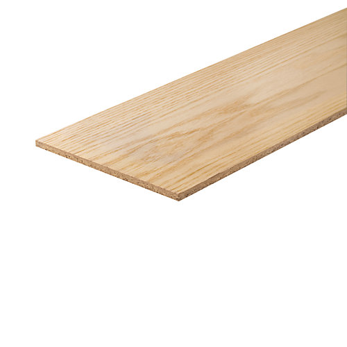 Oak Veneer/Primed White Reversible Stair Riser Cap 1/4 Inches x 7-1/2 Inches x 36 Inches