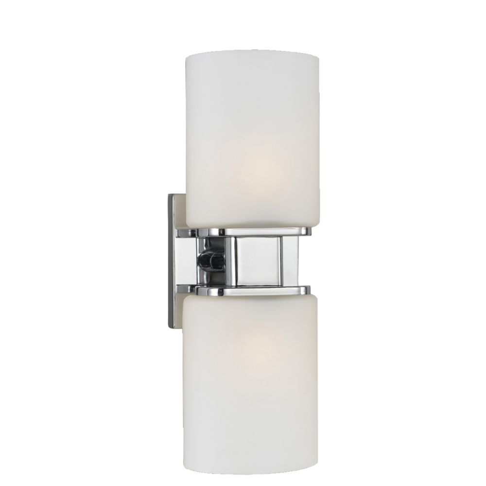 dolante collection 2 light chrome wall sconce the home depot canada. Black Bedroom Furniture Sets. Home Design Ideas