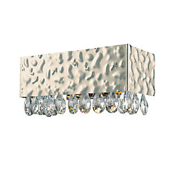 Eurofase Martellato Collection 1-Light Chrome Wall Sconce with Clear Crystal Drops