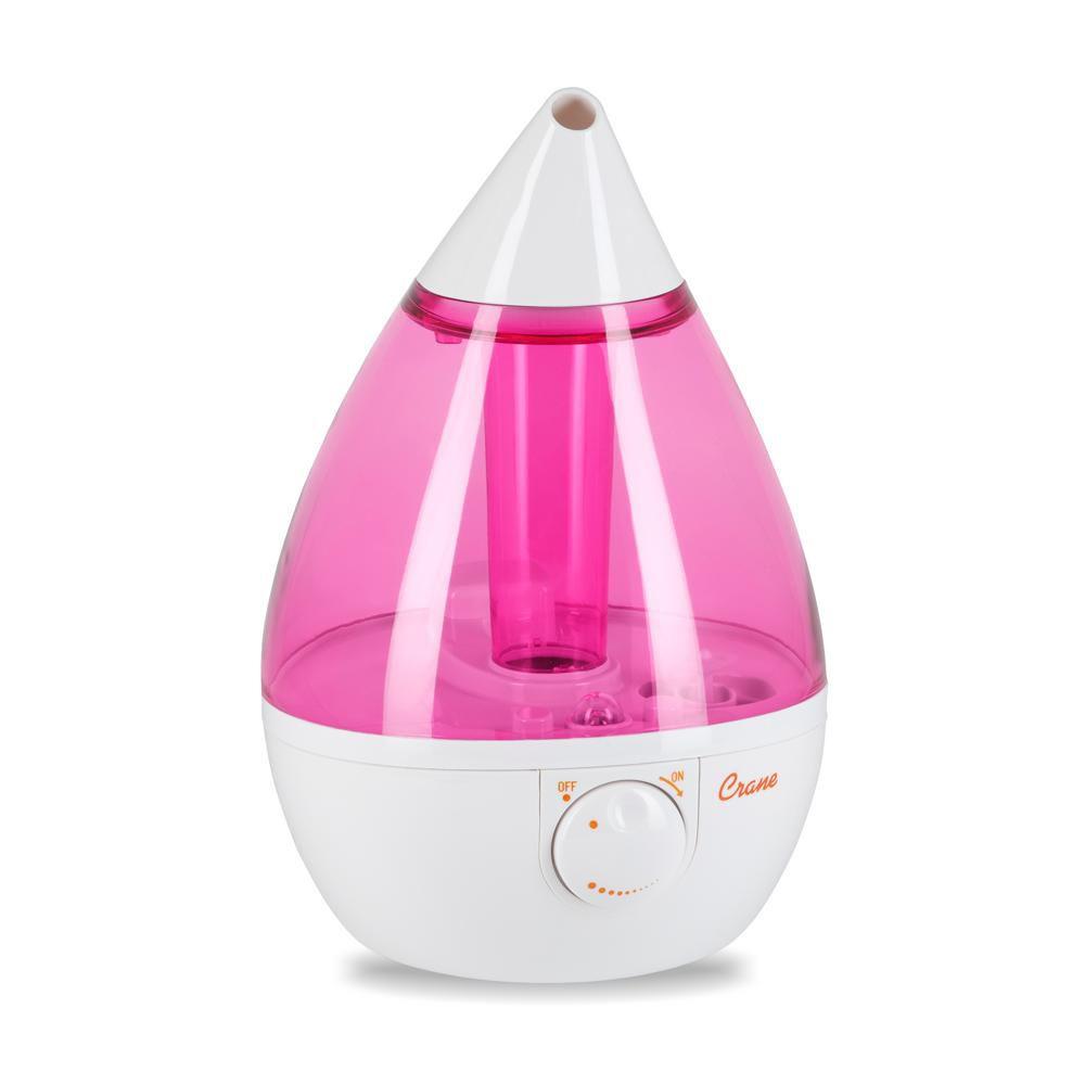 Crane Ultrasonic Cool Mist Humidifier, Pink Drop Shape