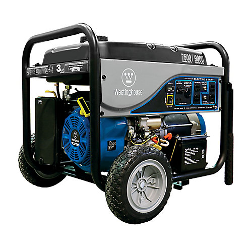 7,500W Gasoline Powered Electric Start Portable Generator with Battery