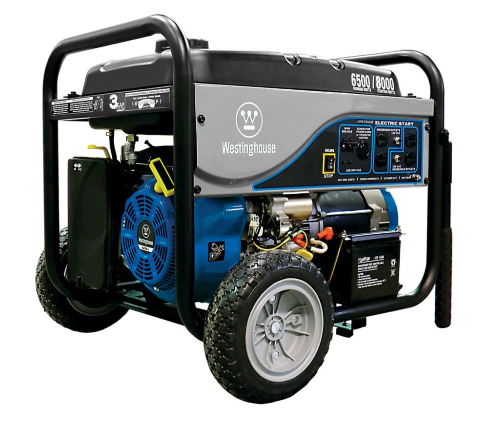 6,500-Watt Gasoline Powered Electric Start Portable Generator with Battery
