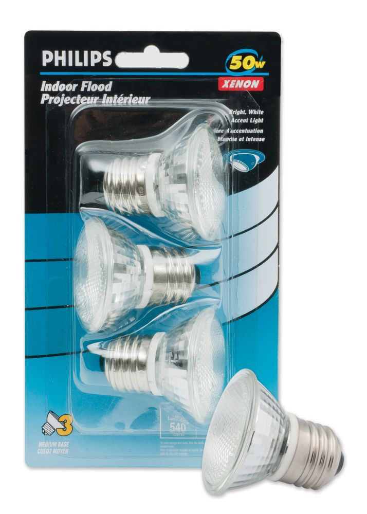 50W Xenon MRC16 Halogen Flood 20   Volt 3 Pack