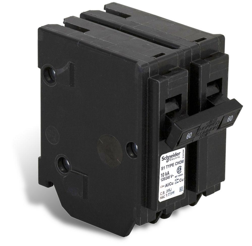Double Pole 60 Amp Homeline Plug-On Circuit Breaker