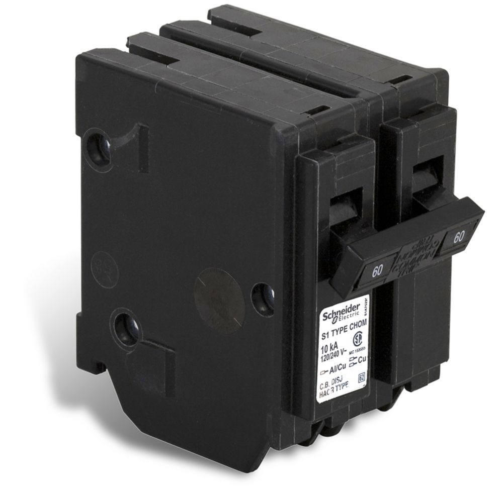 Schneider Electric - HomeLine Double Pole 60 Amp Homeline Plug-On Circuit Breaker