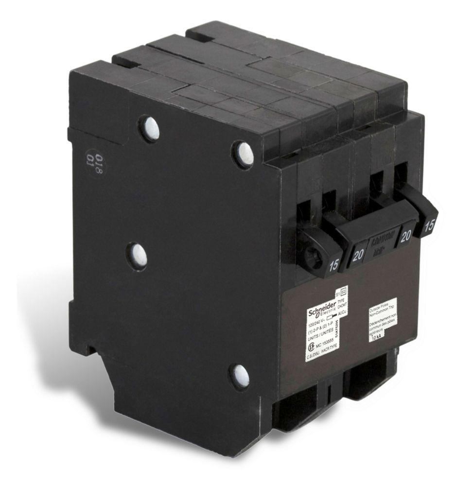 Disjoncteur Quad Type Homeline (2 1-pôle-15A &1 à 2 pôles 20A)