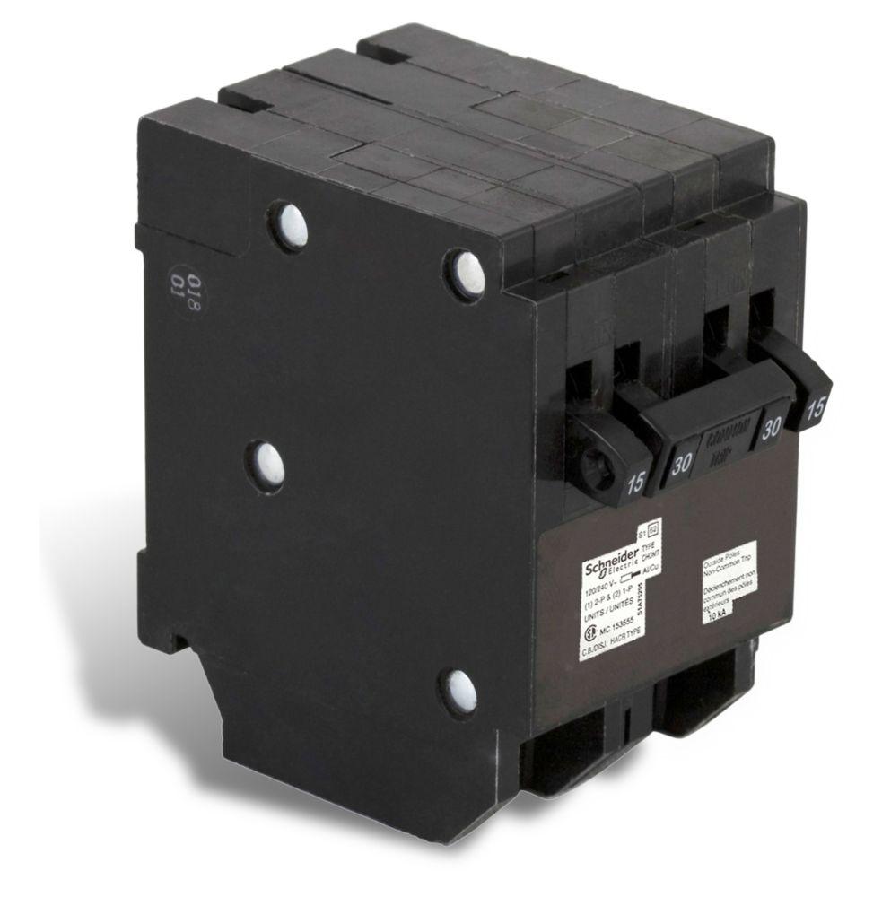 Disjoncteur Quad Type Homeline (2 1-pôle-15A &1 à 2 pôles 30A)