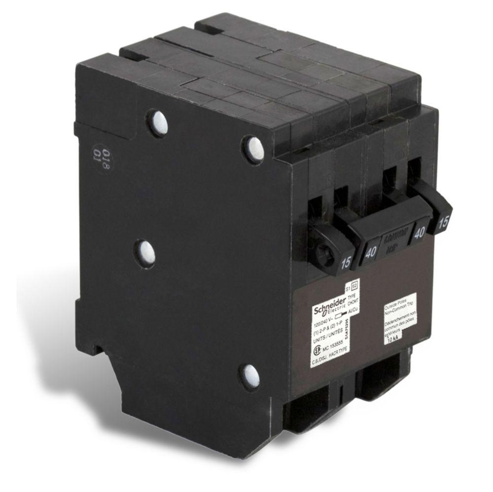 Schneider Electric - HomeLine Single Pole 15A(2) / Double Pole 40 Amp Homeline Quad Plug-On Circuit Breaker