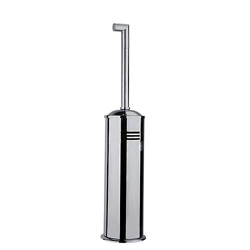 Squaretone Standing Toilet Brush and Holder in Brushed Nickel