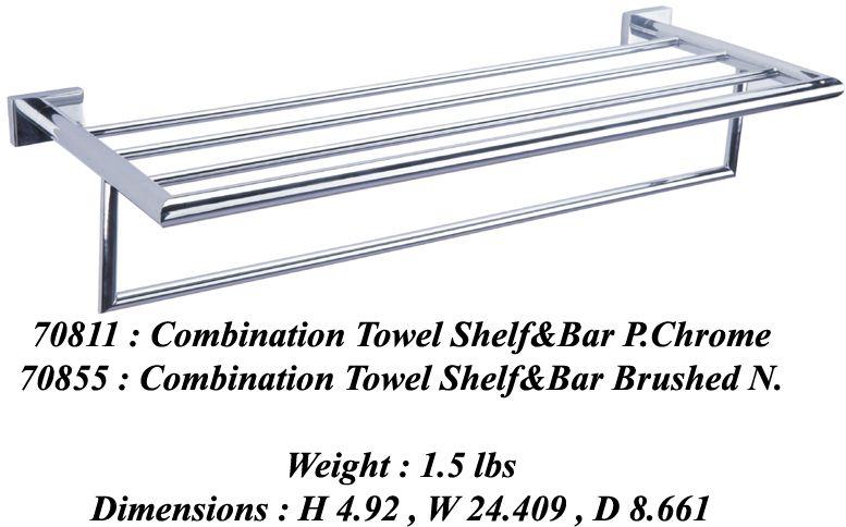 SQUARETONE Combination Towel Shelf & Bar, BN