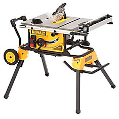 15 amp Corded 10-inch Portable Table Saw with Rolling Stand