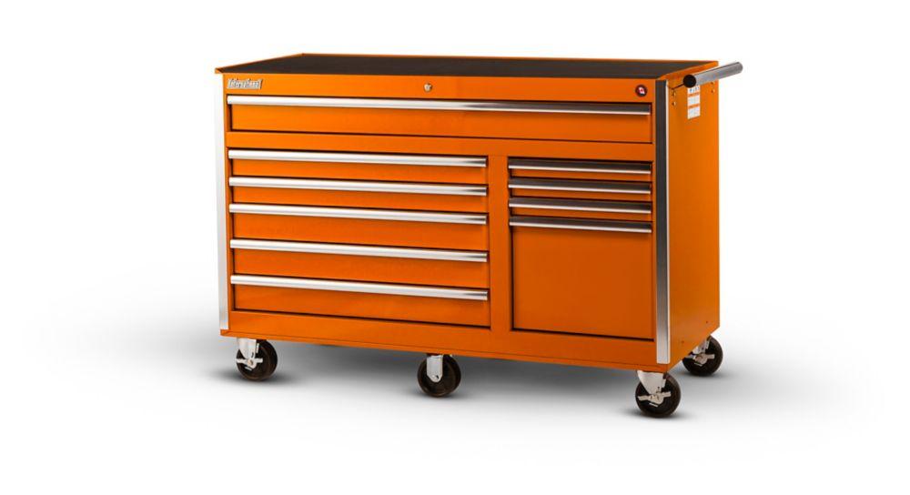 56 Inch 10 Drawer Orange Tool Cabinet