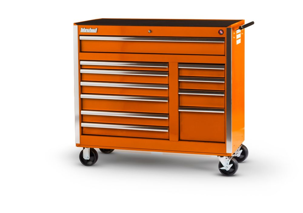 42 Inch 11 Drawer Orange Tool Cabinet
