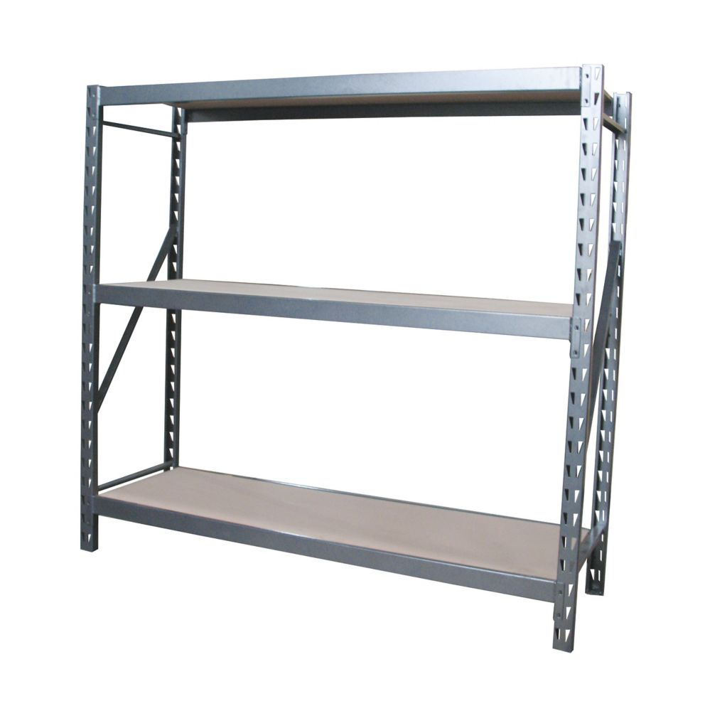 3 Shelf Industrial Grade Riveted Storage Rack With Particle Board Shelves