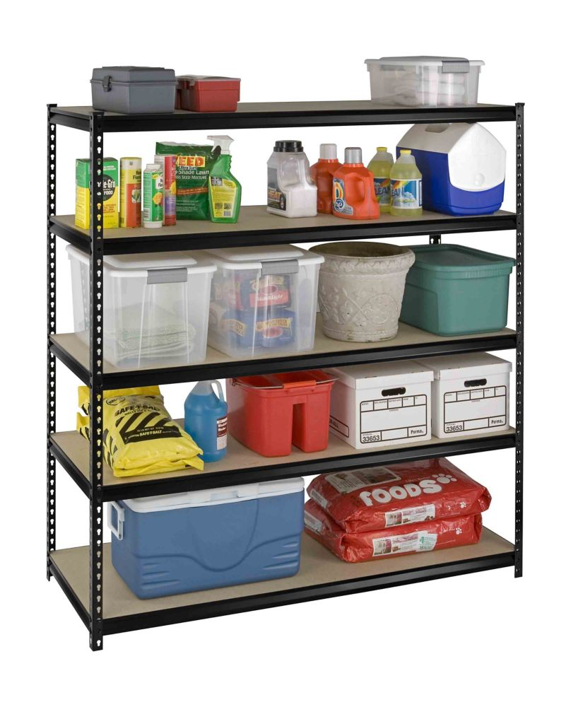 5 shelf heavy duty riveted storage rack with particle board shelves