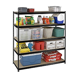 International 5 Shelf Heavy Duty Riveted Storage Rack With Particle Board Shelves