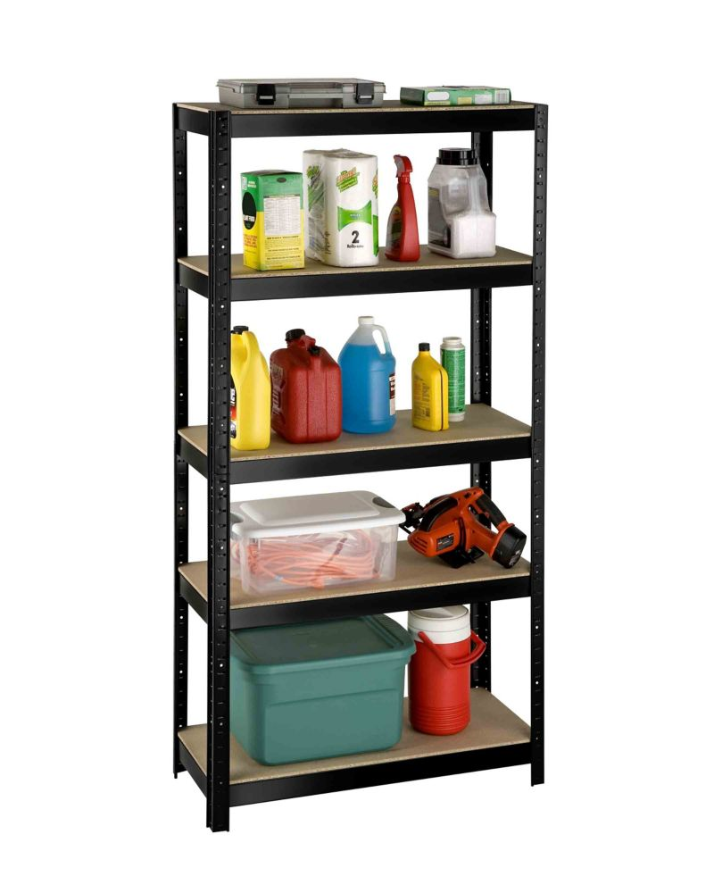 5 Shelf Slotted Storage Rack With Particle Board Shelves