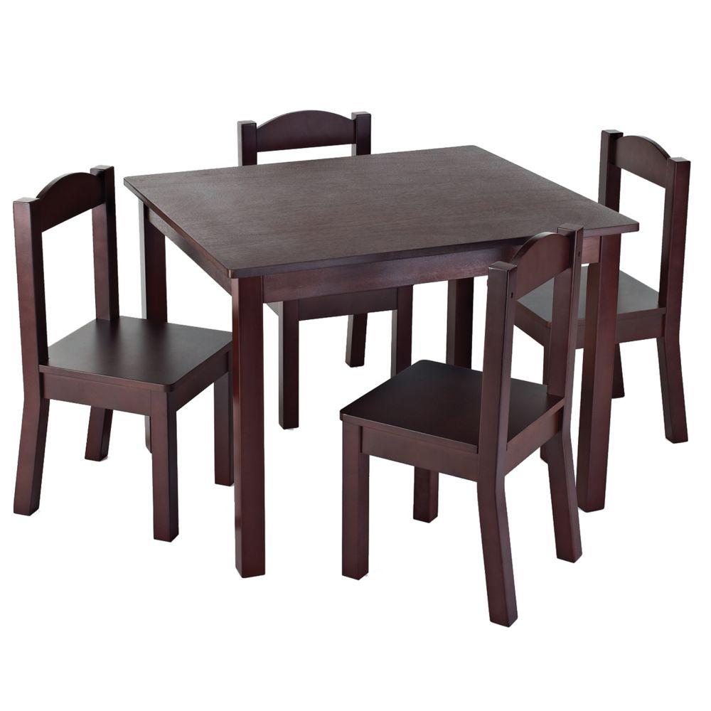 tot tutors ensemble de table et 4 chaises espresso pour. Black Bedroom Furniture Sets. Home Design Ideas