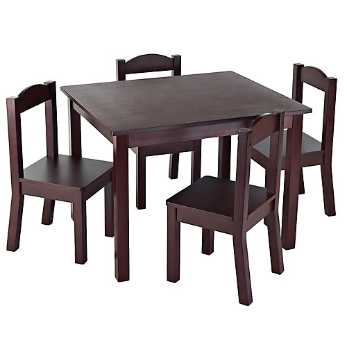 Dining Table with 4 Chairs in Espresso