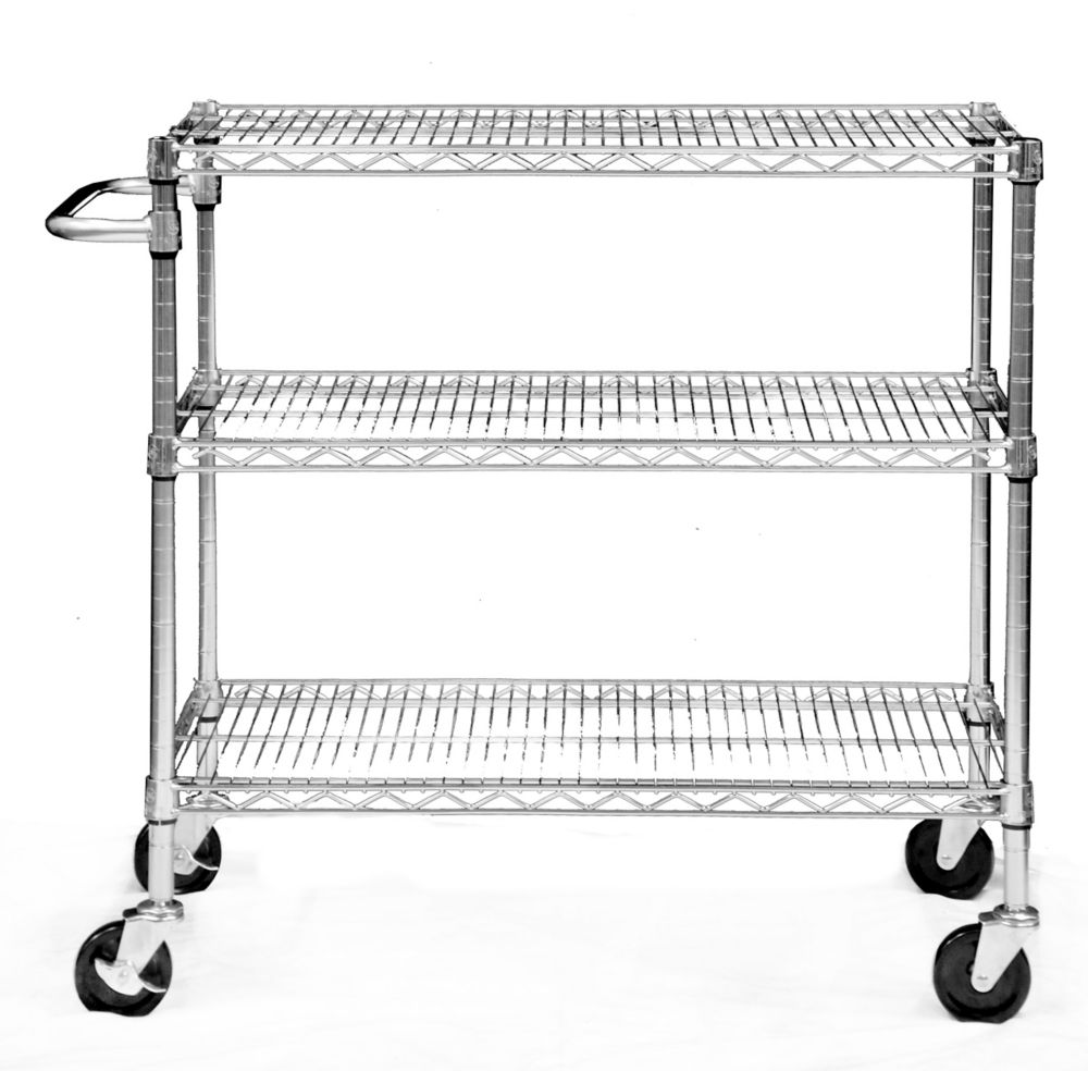 TRINITY EcoStorage 3-Tier Cart � Chrome