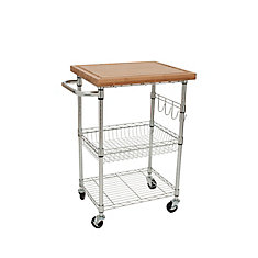 Ecostorage Bamboo Kitchen Cart - Chrome