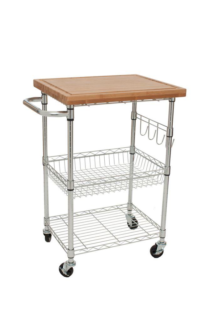 TRINITY EcoStorage Bamboo Kitchen Cart - Chrome