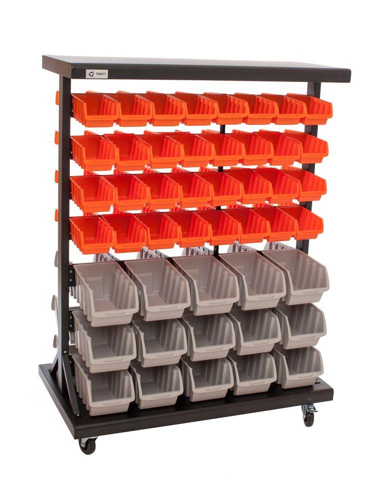 Dual-Sided Mobile Bin Rack