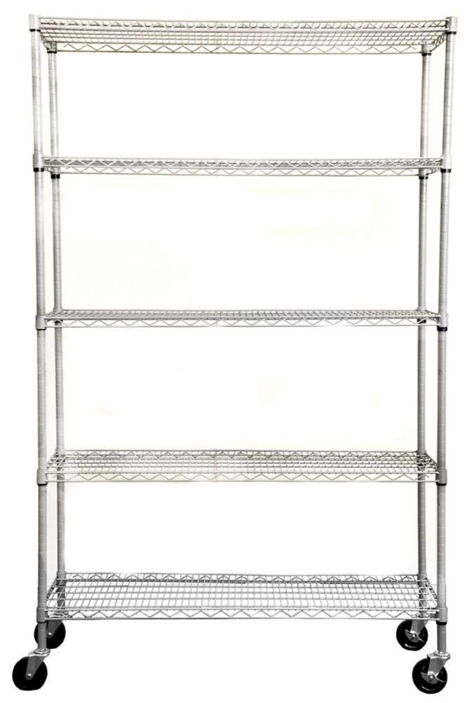 TRINITY 5-Tier NSF 48x18x72 Outdoor Wire Shelving Rack With Wheels � Gray