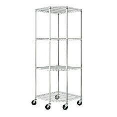 TRINITY EcoStorage 4-Tier NSF Corner Wire Shelving Rack With Wheels  Chrome