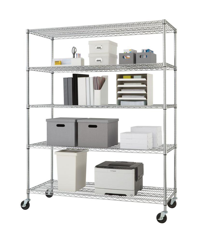 TRINITY 5-Tier NSF 60x24x72 Heavy Duty Wire Shelving Rack With Wheels � Chrome