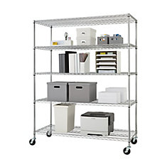 5-Tier Heavy Duty Wire 60-inch x 24-inch x 72-inch Shelving Rack with Wheels in Chrome