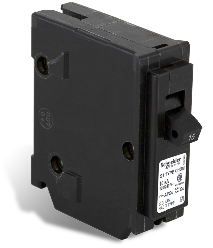 Single Pole 15 Amp Homeline Plug-On Circuit Breaker CHOM115CP Canada Discount