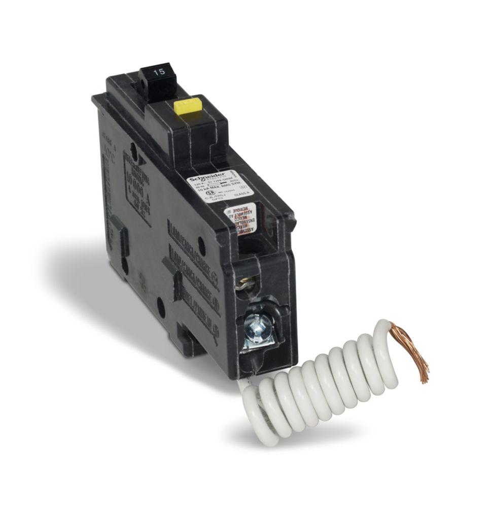 Single Pole 15 Amp Homeline GFI Plug-On Circuit Breaker