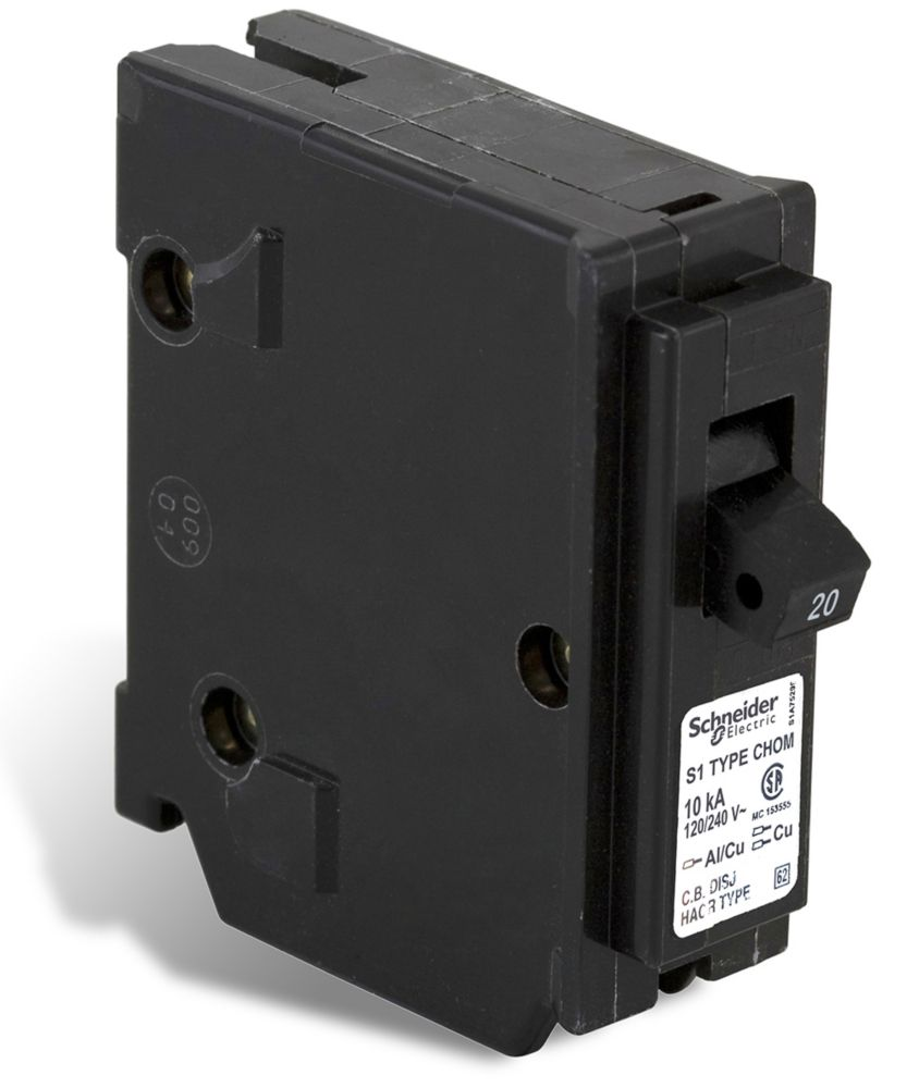 Single Pole 20 Amp Homeline Plug-On Circuit Breaker CHOM120CP Canada Discount