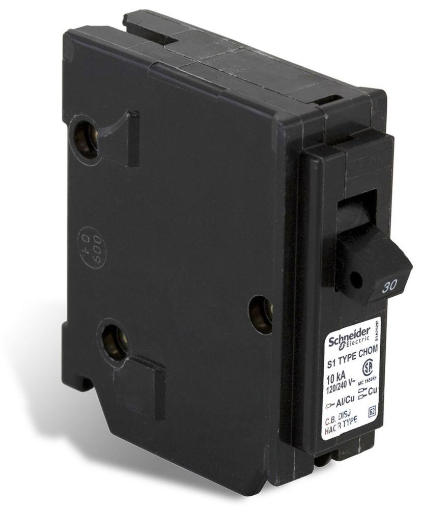 Single Pole 30 Amp Homeline Plug-On Circuit Breaker CHOM130CP Canada Discount