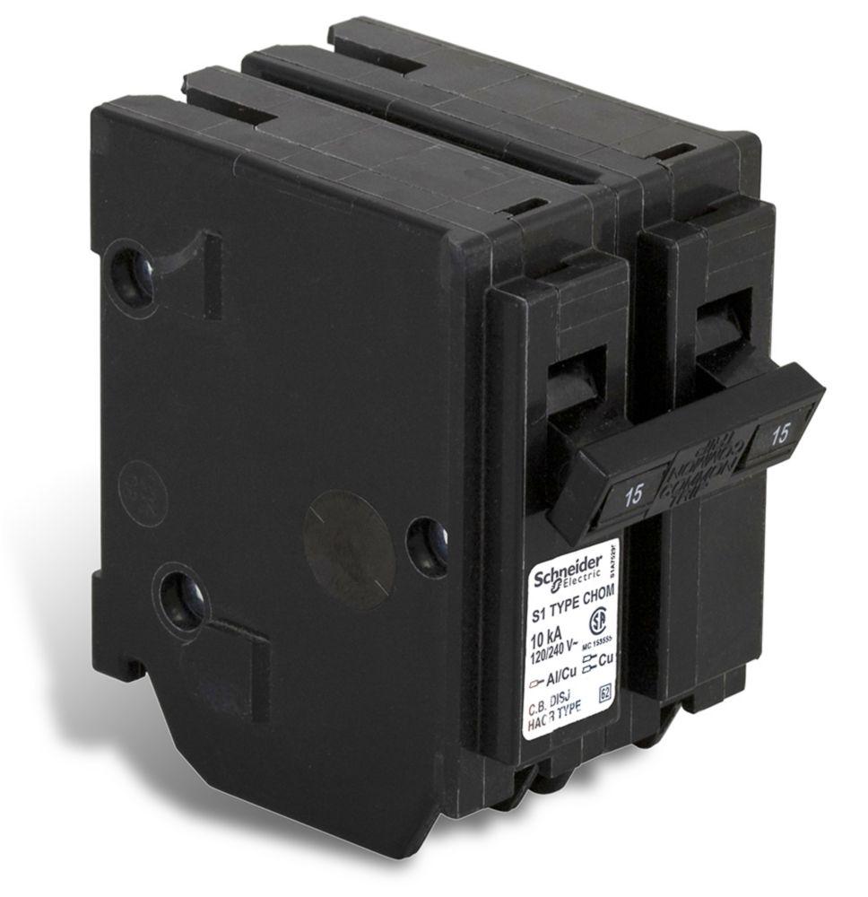 Double Pole 15 Amp Homeline Plug-On Circuit Breaker