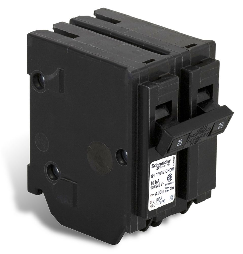 Double Pole 20 Amp Homeline Plug-On Circuit Breaker CHOM220CP Canada Discount