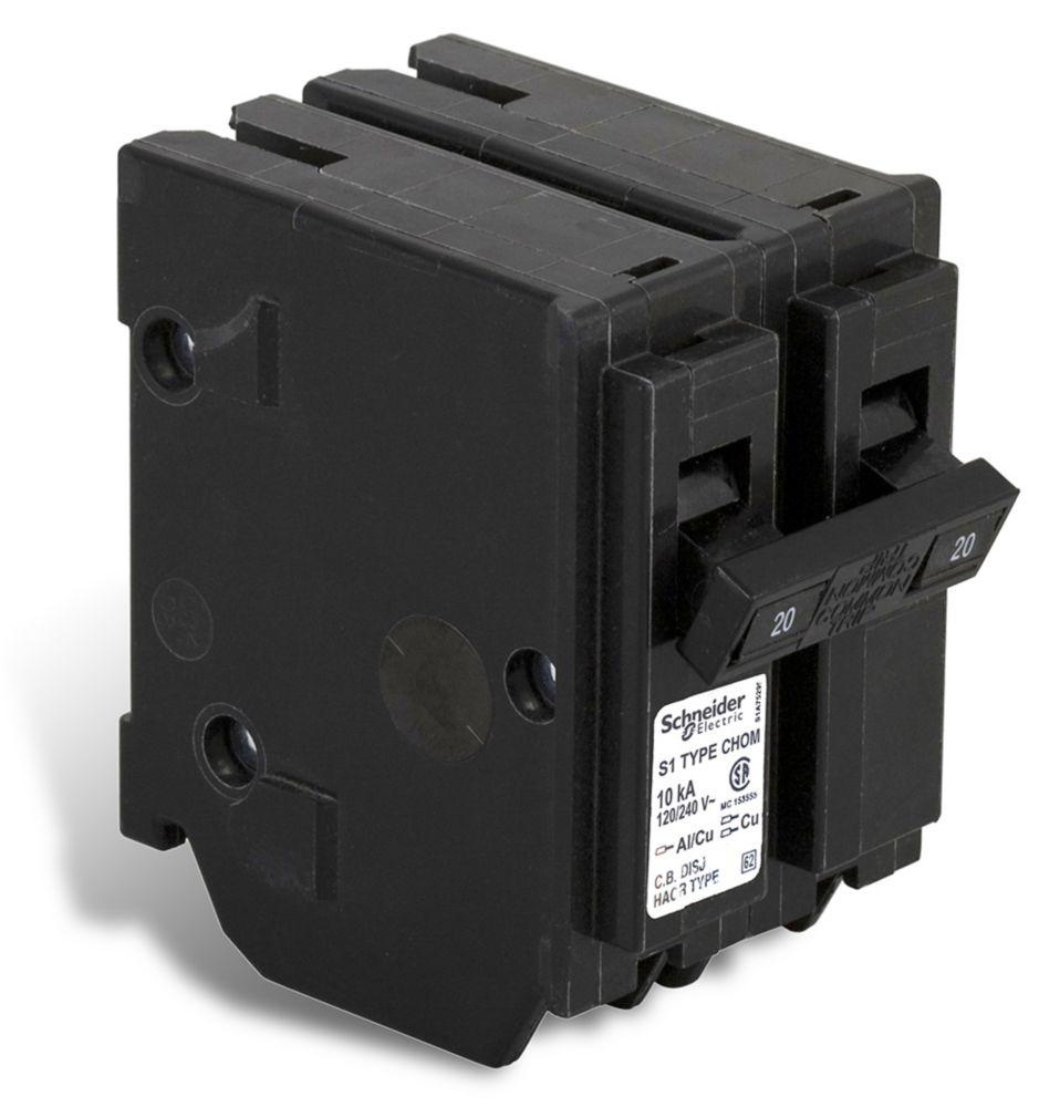 Double Pole 20 Amp Homeline Plug-On Circuit Breaker