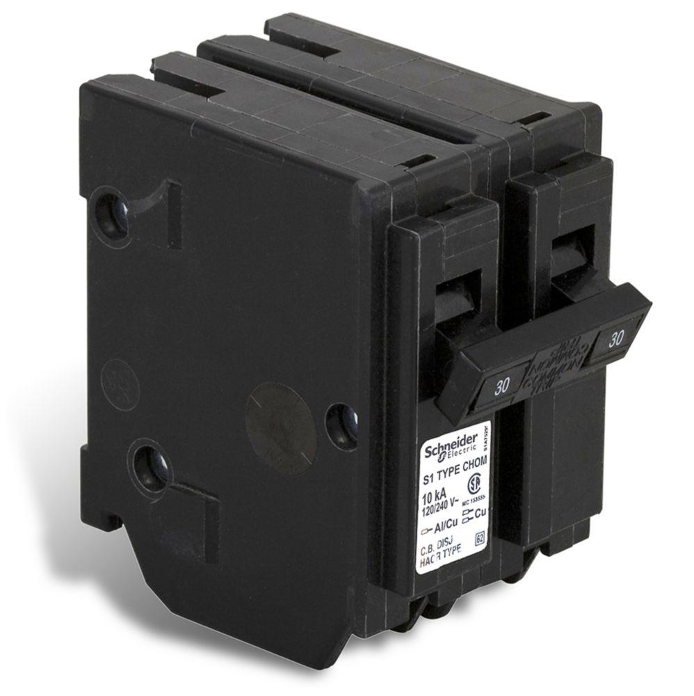 Double Pole 30 Amp Homeline Plug-On Circuit Breaker