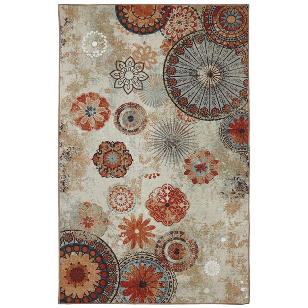 5 ft. x 8 ft. Alexa Medallion Outdoor Printed Patio Area Rug in Brown