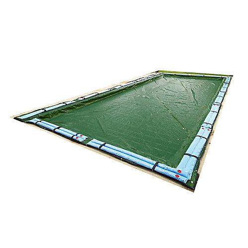 Bâche hivernale rectangulaire pour piscine creusée de 7,6 m x 13,7 m (25 pi x 45 pi), garantie de 12 ans