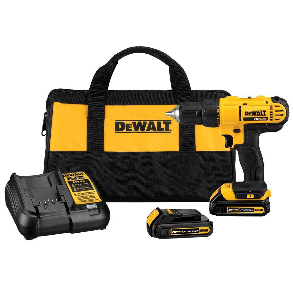 DEWALT 20V MAX Lithium-Ion Cordless Drill and Driver Combo Kit with Batteries, Charger and Bag