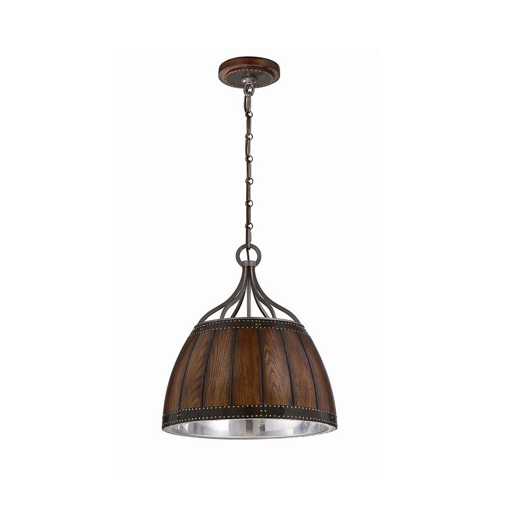 Mano Collection 1 Light Wood Pendant