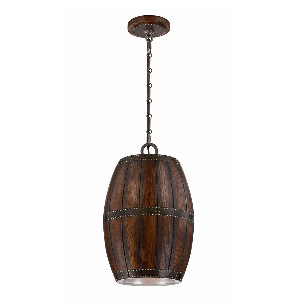 Mano Collection 1 Light Wood Pendant